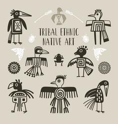 tribal ethnic birds indigenous native engraved vector image