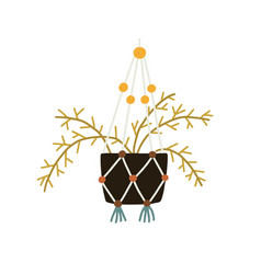 wall houseplant in pot with strings trendy green vector image