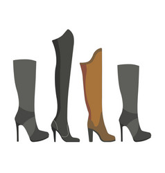 Womens leather and suede boots on high heels vector