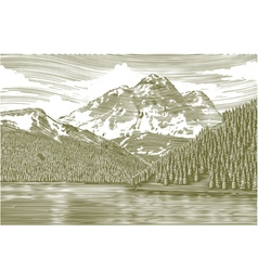 Woodcut Landscape with Mountain vector