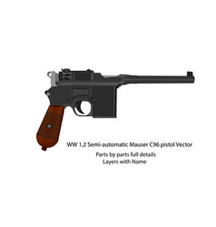 ww1 and ww2 semi-automatic mauser c96 pistol vector image
