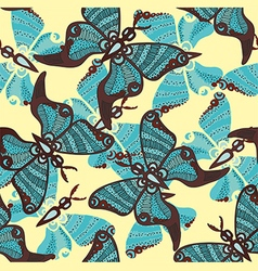 Beautiful pattern with butterflies on a blue vector