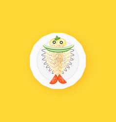 Cute cooked halibut flounder flatfish vector