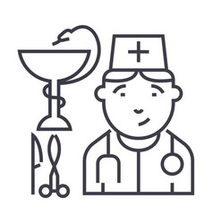 doctor sign line icon sign vector image