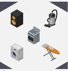 Isometric electronics set of laundry vac cloth vector
