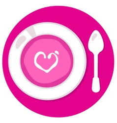 Pink Valentines love soup in circle vector image