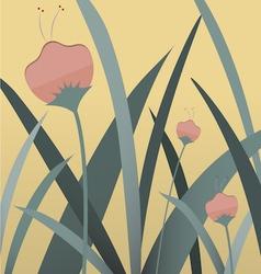 3 flowers vector image