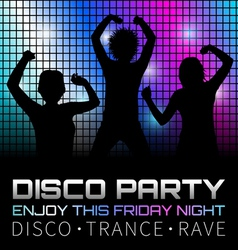 Disco poster with dancers vector image