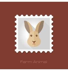 Rabbit flat stamp Animal head vector image