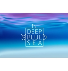 Water blurred background with line sign deep blue vector image vector image