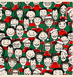 christmas party with group of people seamless vector image vector image
