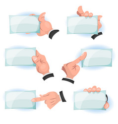 Comic hands holding id cards signs vector