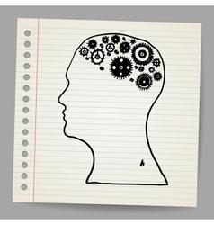 Doodle cog wheels forming a brain vector image vector image