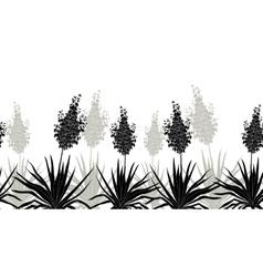 Flowers yucca silhouette horizontal seamless vector
