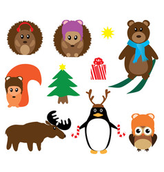 funny winter animals vector image