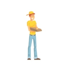 Smiling Guy With Pizza Box Delivery Company vector image