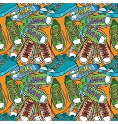 Sport shoes seamless pattern vector image