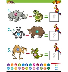 subtraction educational game vector image vector image