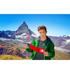 Young man tourist with map vector