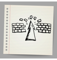 Hand-drawn arrow doodle breaking the wall vector