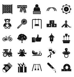 kindergarten icons set simple style vector image vector image