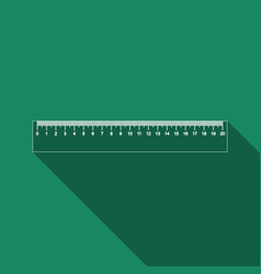 straightedge symbol ruler icon with long shadow vector image
