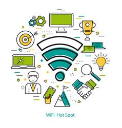 wifi hot spot - line art concept vector image vector image