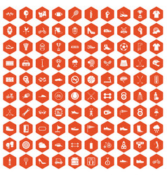 100 sneakers icons hexagon orange vector image