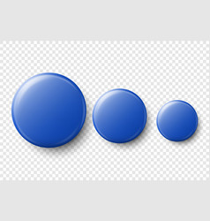 3d realistic blue metal plastic blank vector image