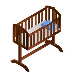 baby cradle icon isometric style vector image