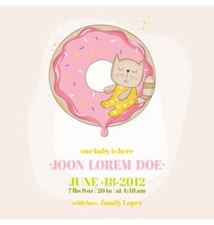 Baby shower or arrival card - girl cat vector