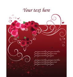 background with heart and roses vector image