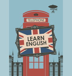 banner for learn english with telephone booth vector image