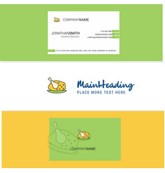 beautiful chicken meat logo and business card vector image