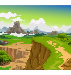Beauty cliff with mountain landscape background vector