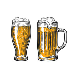 beer in glass mug with foam hand drawn vector image