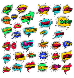 big set comic style speech bubbles with sound vector image