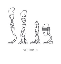 Bionic robot leg prosthesis line icon set bionic vector