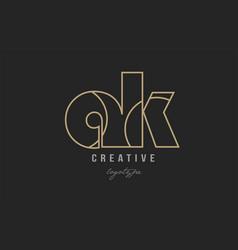 Black and yellow gold alphabet letter ak a k logo vector