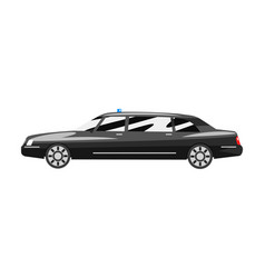black executive sedan car with blue flasher siren vector image