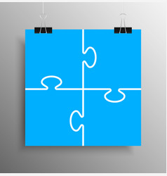 blue piece puzzle infographic 4 step puzzle vector image