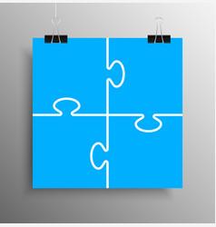 Blue piece puzzle infographic 4 step puzzle vector