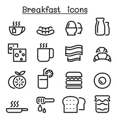 breakfast icons in thin line style vector image