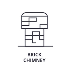 Brick chimney line icon outline sign linear vector