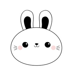 Bunny rabbit round face head line icon doodle vector