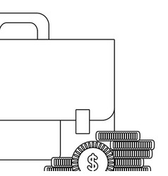 business briefcase and money coins in black and vector image