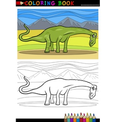 cartoon diplodocus dinosaur coloring page vector image