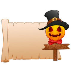 Cartoon pumpkin wearing witch hat with blank sign vector