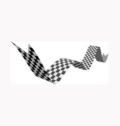checkered racing flag ribbon on vector image