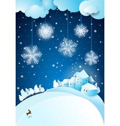 christmas eve with snowfall vector image